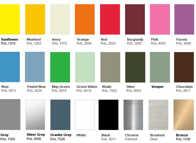Jielde Color Chart