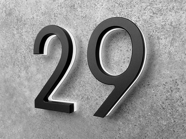 """Luxello Modern Black House Numbers 5"""" Backlit"""