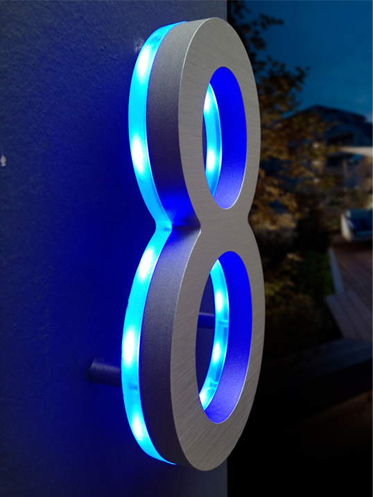modern illuminated house numbers blue details