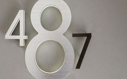 Luxello Modern 8 inch Illuminated House Number - White LED
