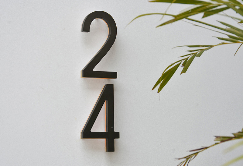 Luxello Modern Bronze House Numbers Illuminated surroundingcom