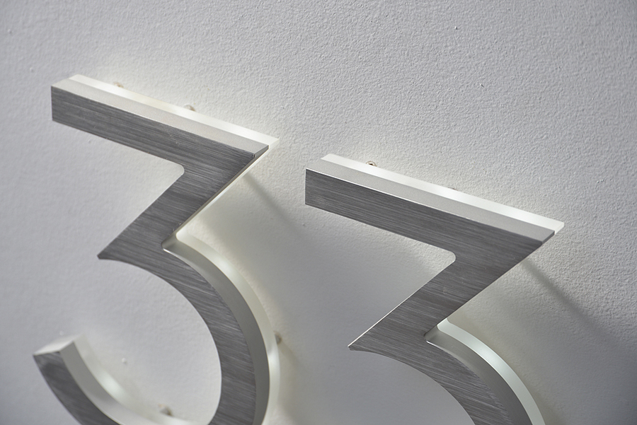 Luxello Modern Neutra House Numbers LED Backlit Surroundingcom - Contemporary house numbers