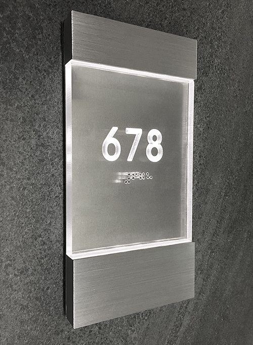 Luxello Lighted Clear Room Number Sign Surrounding Com
