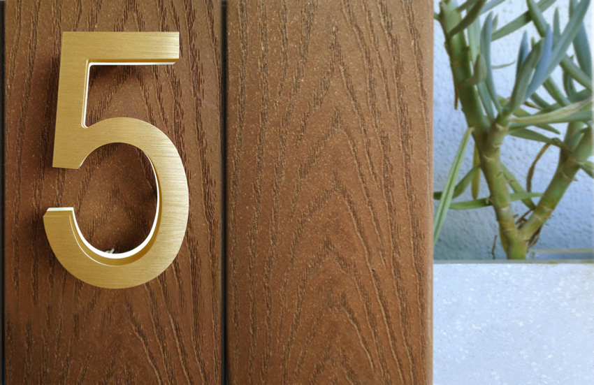 Luxello modern brass led house numbers 5 Led house numbers