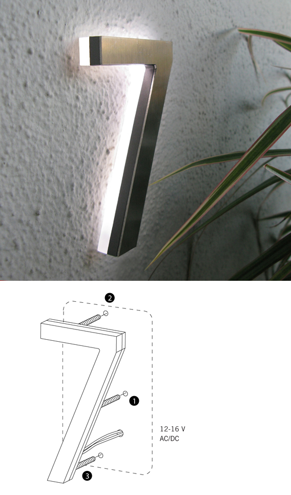 Luxello Modern LED House Number 5 Outdoor surroundingcom