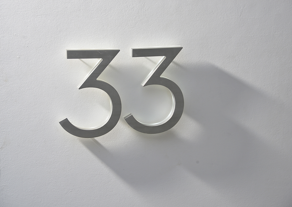 Luxello Modern Neutra House Numbers LED Backlit surroundingcom