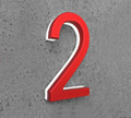 Luxello Modern Red Metal House Numbers Lighted
