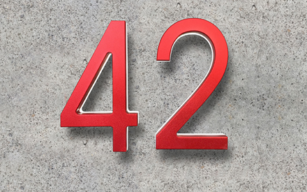 LUXELLO | MODERN RED METAL HOUSE NUMBERS LIGHTED