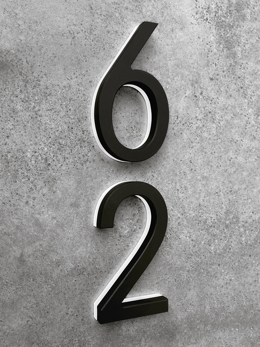 Luxello from the luxello collection modern black lighted house numbers