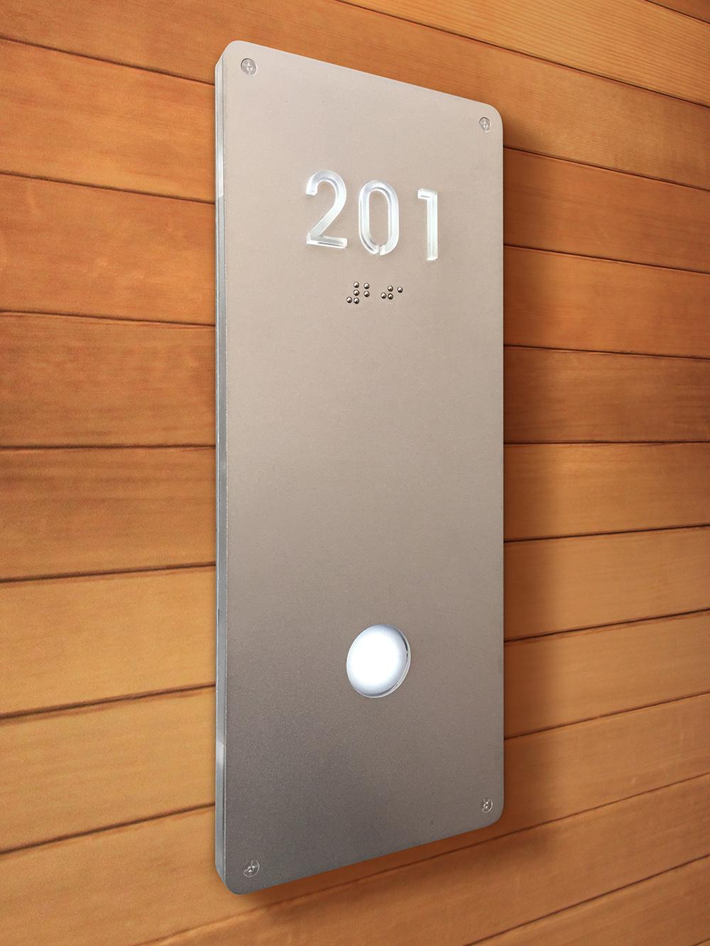 Luxello Illuminated Modern Room Number Sign Braille